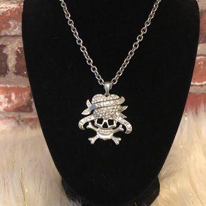 Love Kills Slowly Skull Necklace with Rhinestones